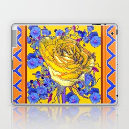 CORAL & BLUE LATTICE & YELLOW ROSE BLUE MORNING GLORY FLOWERS Laptop & iPad Skin