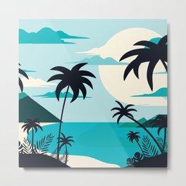 Coastal Blue Tropical Island  Metal Print