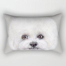 Bichon illustration, Dog illustration original painting print Rectangular Pillow