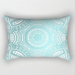 Turquoise Ethnic Pattern With Mandalas Rectangular Pillow