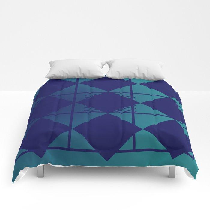 Blue,Diamond Shapes,Square Comforters