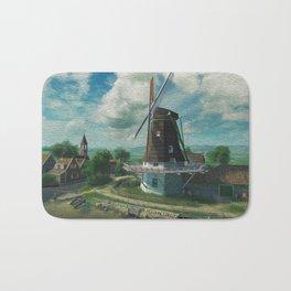 Windmill In Little Village At Waterfont Ultra HD Bath Mat