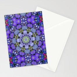 Garden mosaic kaleidoscope mandala - cool blues 2 Stationery Cards