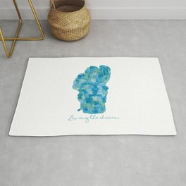 Living the Dream Lake Tahoe Watercolor Collage Rug