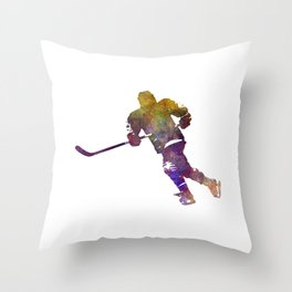 Skater with stick in watercolor Throw Pillow