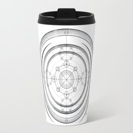 Black and white aztec sacred geometry art Travel Mug
