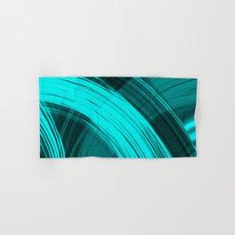 Bright pillars of light blue light from flowing lines on dark fabric. Hand & Bath Towel