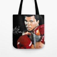 ali gulec Tote Bags featuring ALI 4 by YBYG