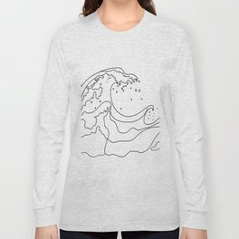 Minimal Line Art Ocean Waves Long Sleeve T-shirt