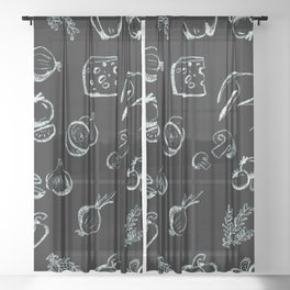 Chalk drawing kitchen vegetables Sheer Curtain