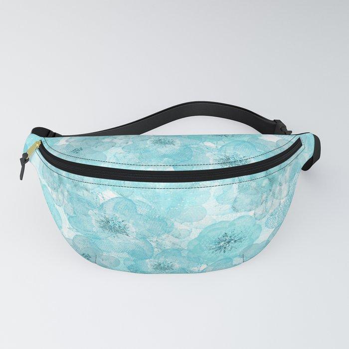 Turquoise aqua flower lace pattern Fanny Pack