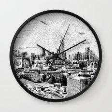 New York City - Fingerprint - Black ink Wall Clock