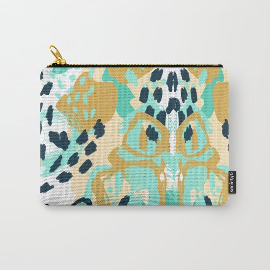 Silas - abstract print in mint, green, mustard navy Carry-All Pouch