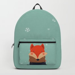 Fox Under Snow in the Christmas Time. Backpack