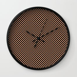 Black and Peach Cobbler Polka Dots Wall Clock