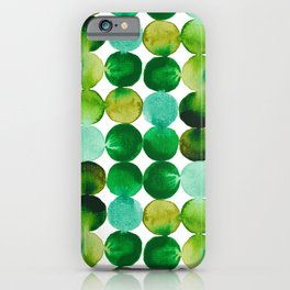 Green Watercolor Circles Pattern iPhone Case