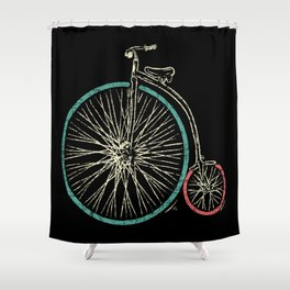 Cycling Forever | Penny Farthing High Wheel Shower Curtain