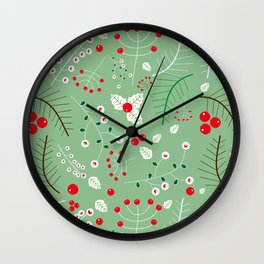 Mistletoe green Wall Clock