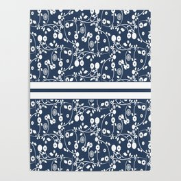 Country Flowers in Blue Cottage Chic Pattern Poster