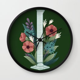 Floral Graduated Cylinder Wall Clock