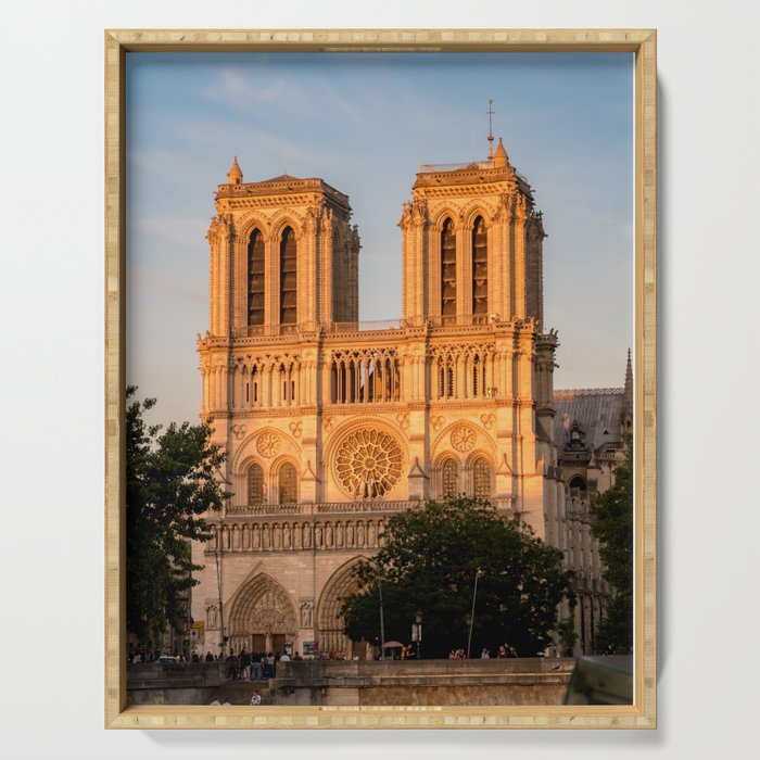 Notre Dame De Paris At Golden Hour Serving Tray By