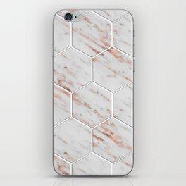 Rose gold honeycomb tiles iPhone Skin