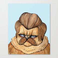 Ron Swanson Cat Canvas Print