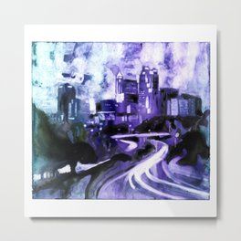 Watercolor painting of skyline of downtown Raleigh, NC at sunrise.  Watercolor painting Raleigh Metal Print