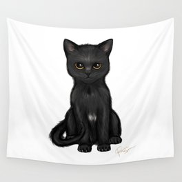 Sweet Black Kitty Cat with Bright Golden Eyes  Wall Tapestry