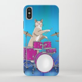 Cat Playing Drums - Blue iPhone Case