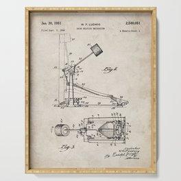 Drum Pedal Patent - Drum Set Art - Antique Serving Tray