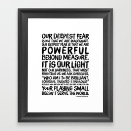 Inspirational Print. Powerful Beyond Measure. Marianne Williamson, Nelson Mandela quote. Framed Art Print
