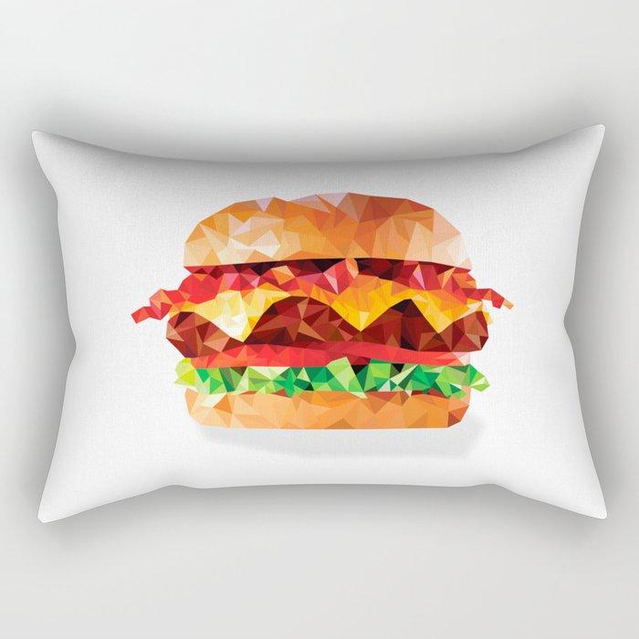 Geometric Bacon Cheeseburger Rectangular Pillow