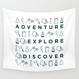Adventure Explore Discover Camping Wall Tapestry