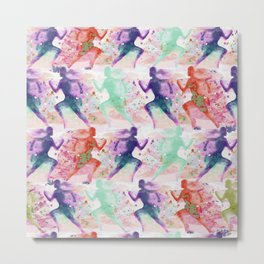 Watercolor women runner pattern with red mint and dark purple Metal Print