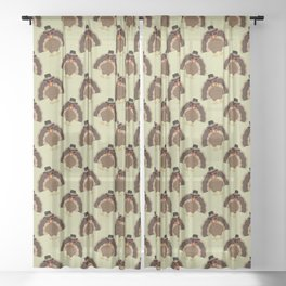 Cool Turkey with sunglasses Happy Thanksgiving Sheer Curtain