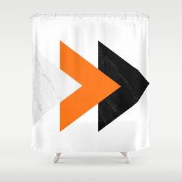 Forward arrows marble orange Shower Curtain
