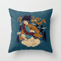dragonball Throw Pillows featuring woodblockkakarot by Louis Roskosch
