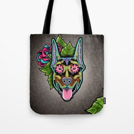 Doberman with Cropped Ears - Day of the Dead Sugar Skull Dog Tote Bag