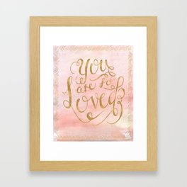 So Loved Baby Girl Nursery Print GOLD Framed Art Print