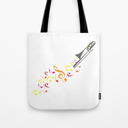 Trombone And Musical Notes Tote Bag
