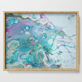 Fluid Nature - Candyfloss Tendrils - Abstract Acrylic Pour Art Serving Tray