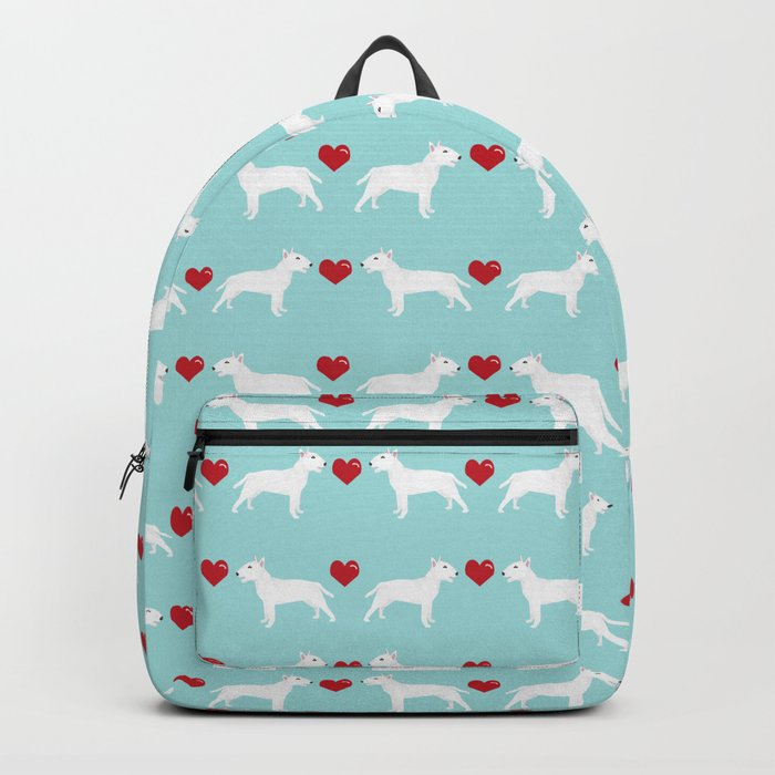 Bull Terrier white hearts dog breed pet friendly dog gifts bull terriers Backpack