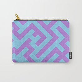 Lavender Violet and Baby Blue Diagonal Labyrinth Carry-All Pouch