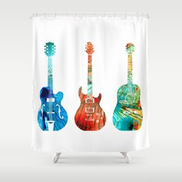 Abstract Guitars by Sharon Cummings Shower Curtain
