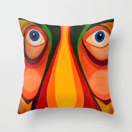 Abstract Stunned Face Impression - Oil Painting Artwork Throw Pillow