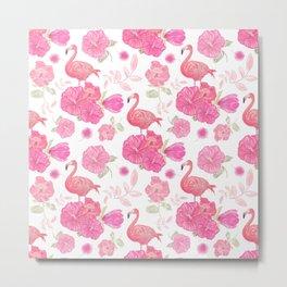 Seamless floral pattern with flamingo birds. Endless texture Metal Print