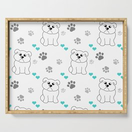 Little bulldog with blue hearts pattern Serving Tray