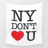 stickers Wall Tapestries featuring New York, New York by Text Guy
