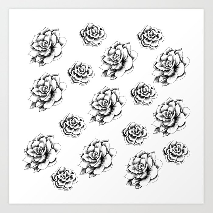 Succulents in Hatching by LauryArts Art Print